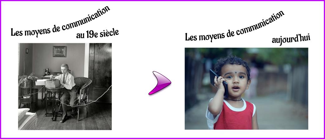 Les moyens de communication au 19e siècle et aujourd'hui